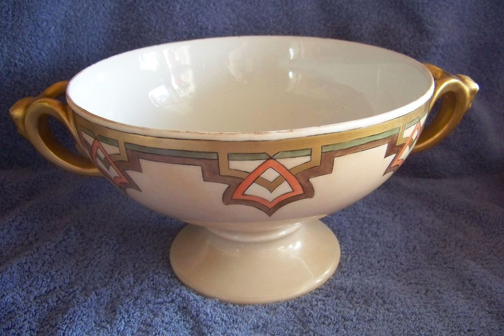 Handpainted Czechoslovakian Art Deco Pedestal China Punch Bowl
