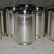 SALE Eight Servel International Silver Marked, Juice Tumblers