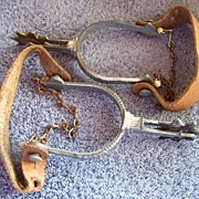 REDUCED Vintage Set of Child's Western Spurs Leather & Chains