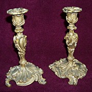 Set of Bronze Art Nouveau Candlesticks Vintage