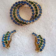 SALE Green & Blue Rhinestone Brooch Pin & Earrings