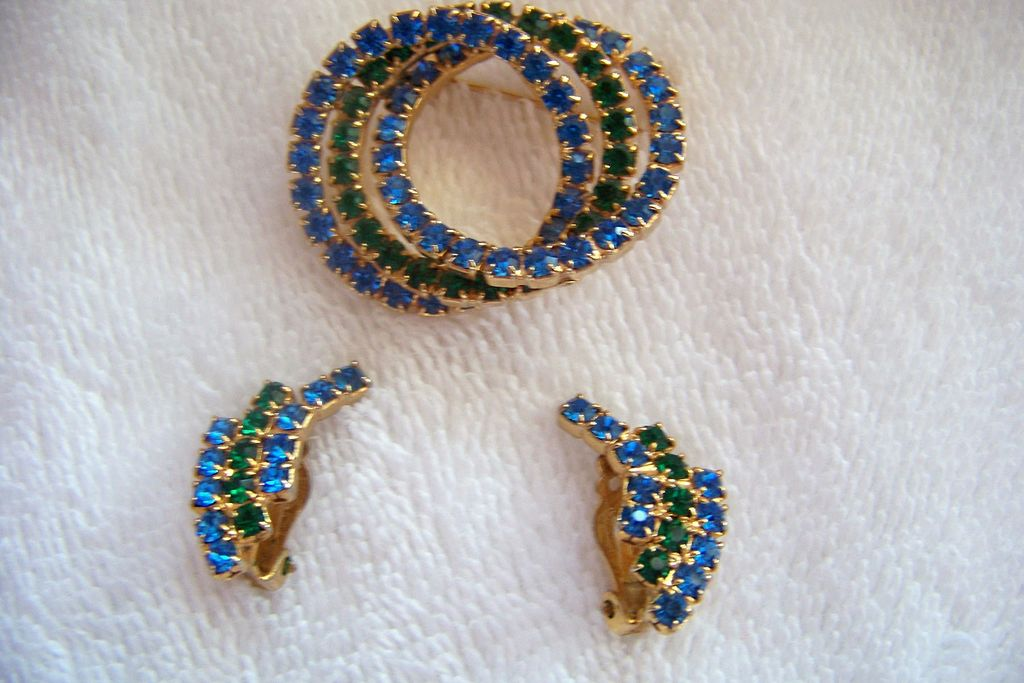 Green & Blue Rhinestone Brooch Pin & Earrings