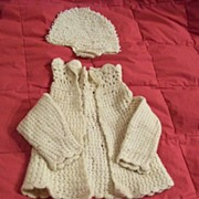 SALE Vintage Crochet Baby Hat, Sweater, & Booties Or Socks