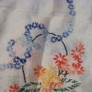 SALE Vintage Embroidery Table Runner Dresser Scarf W Lace