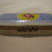 REDUCED Hand Painted  Limoges Enamel Rose Floral Hinged Box