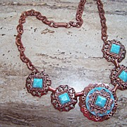 REDUCED Vintage Copper & Faux Turquoise Necklace