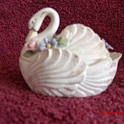 Lefton China Handpainted Floral Swan Box