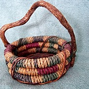 Vintage Hand Woven Painted Basket Twig Handle
