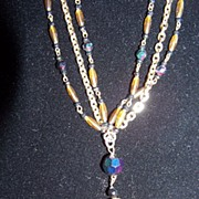 REDUCED Vintage Purple Iridescent Beads & Chain Necklace
