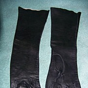 REDUCED Vintage Long Black Leather Gloves S 6 Germany