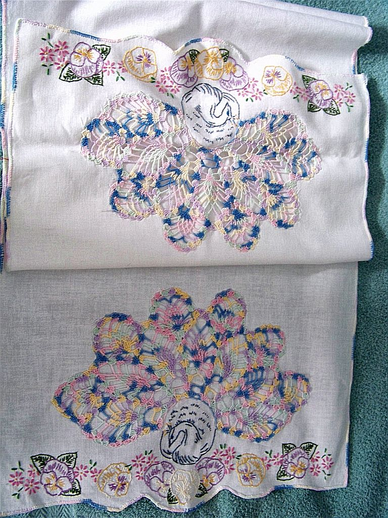 Peacock & Pansies Dresser Scarf Crochet & Embroidery