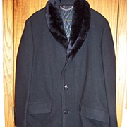 SALE Vintage Black Wool Jacket Coat W Fur Collar Size 38