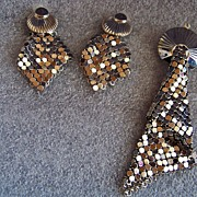 Vintage Art  Deco  Silver Tone Mesh  Earrings & Pendant Drop Set