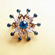 SALE Star Bust Brooch Pin W Blue Rhinestones & Filigree