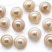 12 Round Gold Tone Button Covers