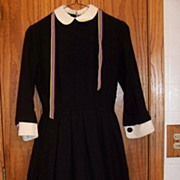 Vintage Black Wool Dress, W White Cuffs & Collar  S 7