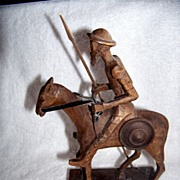 SOLD Ouro Spain,  Don Quixote Figurine,  Wood Carving,  Horse,  Rider W Spear, Warrior