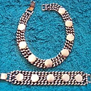 SALE Wide Stainless Steel, Bracelet & Necklace Set