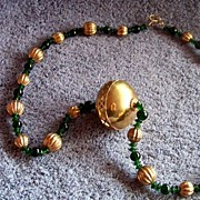 "Large Necklace, Brass & Plastic Green Beads, 31"" Long"
