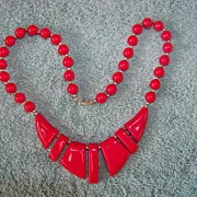 SALE Red Plastic Necklace W Beads & Chunks