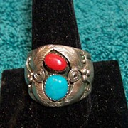 SALE Native American Zuni Sterling Turquoise/Coral Men's Ring, Signed