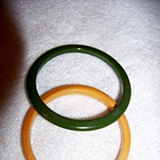 SALE 2 Bakelite Bangle Bracelets,  Butterscotch & Olive Green
