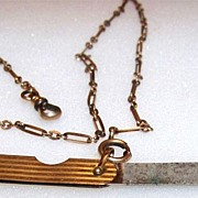 Antique Victorian, Gold Filled Pocket Watch Chain & Fob Signed AAG Co & C.Q & R