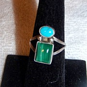 Native American Navajo Sterling Turquoise & Malachite Ring,  Signed