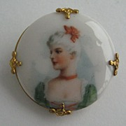 Vintage  Porcelain Button Brooch  Pin,  Victorian  Lady  Bust  Portrait,  Collar Pin