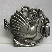 Vintage Retro,  Mexican  Sterling  Silver  Bird  Brooch Pin Marked