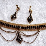 Edwardian  Victorian  Chocker  Necklace & Earring Set,  Black Glass, Gold Filled