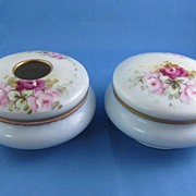 REDUCED Antique, Zeh Scherzer & Co, Bavaria  Hair  Receiver & Powder Jar Hand, Roses