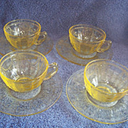 SALE 4 Anchor Hocking, Dancing Ballerina, Amber Cup & Saucer sets
