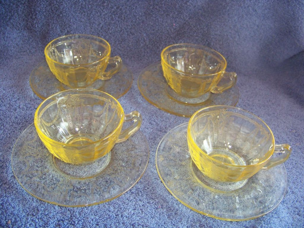 4 Anchor Hocking, Dancing Ballerina, Amber Cup & Saucer sets