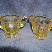 SALE Anchor Hocking, Amber Dancing Ballerina, Cream & Sugar Set