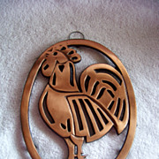 Cast Iron & Copper Progressive Int. Rooster Trivet  1982