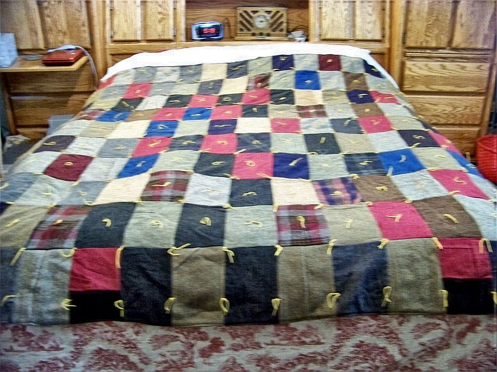 Vintage Homemade Wool Patch Quilt, W liner