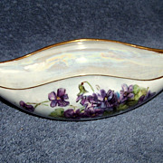 SALE T & V  Limoges Violate Long Bowl, Mary Jamieson 1912