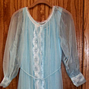 Vintage, Miss Elaine, Long Night Gown & Robe Set, Light Blue