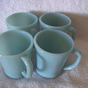 4 Vintage Fire King Turquoise Blue Mugs