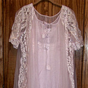 SOLD Vintage Shadow Line, Pink Night Gown & Robe Set, W Slippers, Lase