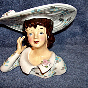 SALE Large Lady Head Vase,  # 1343A Floral, Wide Brim Hat