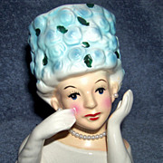 SALE Ladies Head Vase W High hat, Green and Blue