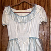 Vintage White long Prom Or Party Dress, W Turquoise Tulle