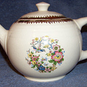 Tea Pot W Bird & Floral Pattern, With Gold Trim. 77