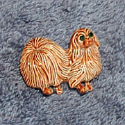 Errys, Shih Tzu Dog Brooch Pin,  Green Eyes