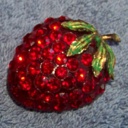 SALE Red Rhinestone & Lucite Strawberry Brooch Pin