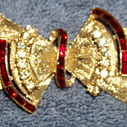 SALE Coro Collar Brooch Pin, Red & White Rhinestones