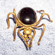 Large Handmade, Wire & Onyx Spider Brooch Pin