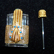 SALE Purse Gold Toned Perfume Scent  Bottle W Clear & Blue Rhinestones
